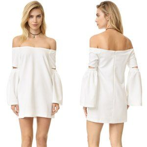 re:named Off Shoulder White Cut Out Sleeve Dress